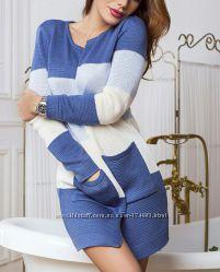 Кардиган женский, вязаный. 2 шт. Цвет джинс и фиолет. Кардиган жіночий.