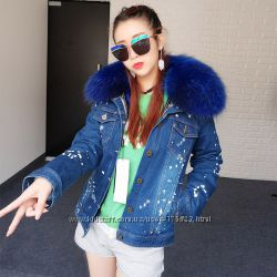 Джинсовая Куртка Парка с натуральным мехом