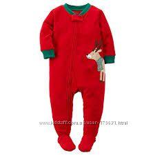 Новогодняя флисовая пижама слип человечек carters, 2Т