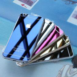 цветные, зеркальные и прозрачные защитные стекла для Iphone 5, 5C, 5S, 6, 6