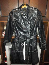 Пальто кожаное черное размер L