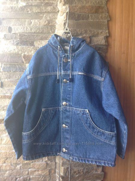 Джинсовая курточка с капюшоном р 116, новое состояние