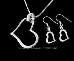 Набор колье, серьги, кольцо, браслет -  Роза покрытие серебро 925
