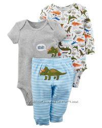 Комплект 3-ка боди и брюки carters для мальчиков