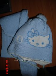 Набор шапочкашарфик зима на девочку Hello Kitty, 3-9 мес
