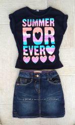 Классная джинсовая юбка sOliver с кожзамом