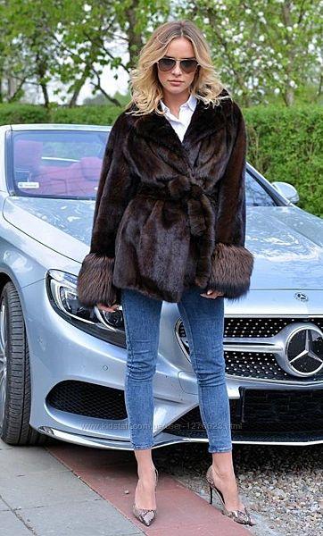 Норковая шуба полушубок автоледи манжеты финская чернобурка