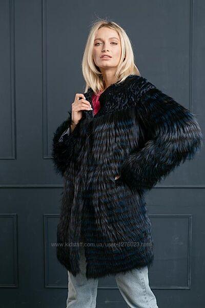 Шикарная шуба пальто финская чернобурка и каракульча новая коллекция 2021