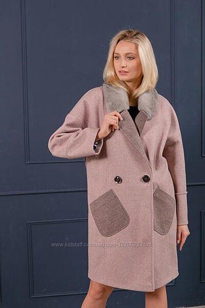 Элегантное пальто с мехом норки эксклюзив шерсть