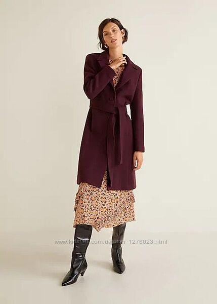 Пальто шерсть цвет хит марсала премиум от манго пальто mango все размеры