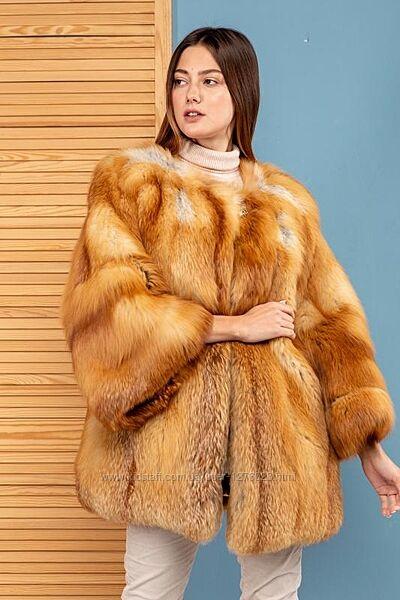 Яркая шуба стильный полушубок финская лиса аукцион голд италия хит зимы