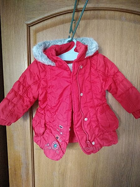 Детская теплая куртка на девочку mothercare на 9-12 мес рост 68-74 см