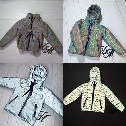 Светоотражающая демисезонная куртка - пуффер 122-146р. Зара,38