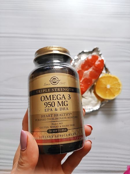 Solgar, Омега-3, рыбий жир Тройная сила, 950 мг,