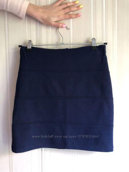 Бандажная юбка темно-синяя pull&bear, размер m больше на s