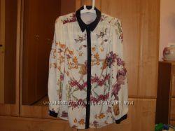 Красивые шелковые, шифоновые блузки, цветочный принт, L