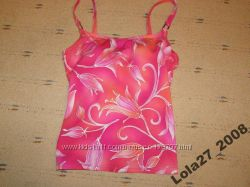 Розово-коралловая майка-танкини, паролоновые чашки S-M