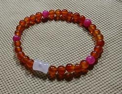 браслет романтика из натуральных камней сердолик, турмалин, розовый кварц