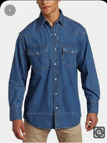Мужская джинсовая приталенная рубашка