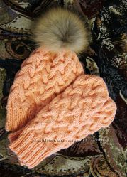 Вязаные шапки с помпоном из натурального меха Супер качество