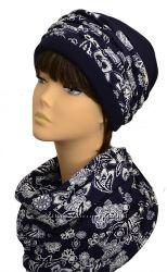 Зимний комплект шапка, шарф Премиум, разные цвета