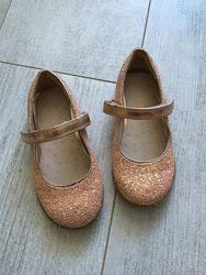 Туфли Некст блестки блестинки нюдовые размер 7 стелька 15,5 см