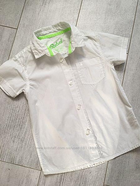 Белая рубашка 3-4 года короткий рукав