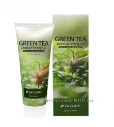 Глубоко очищающий пилинг-гель с зеленым чаем  3W CLINIC Moisture Peeling