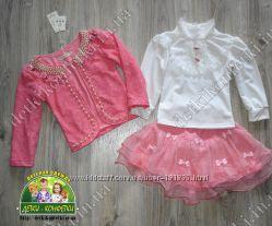 Нарядный костюм-тройка для девочек, юбка, блузка, пиджак