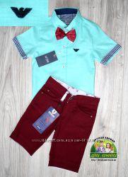 Нарядный комплект Armani рубашка шорты бабочка в наличии