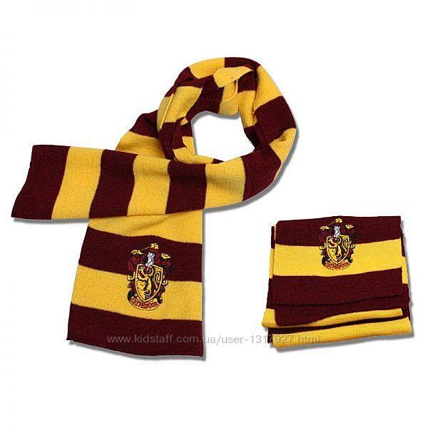 Шарф Гриффиндор с эмблемой - подарок для фаната Гарри Поттера