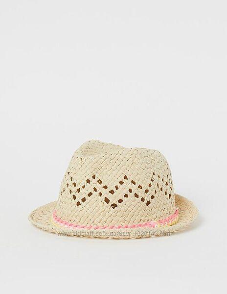 Шапка шляпа соломенная с перфорацией декорирована плетенным шнуром h&m