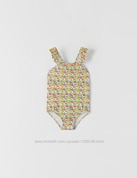 Купальник детский разноцветный в цветочный принт сдельный слитный zara