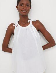 Блуза майка белая хлопковая на тонких бретелях с завязками и сборкой h&m