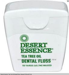 Зубная нить Desert Essence с маслом чайного дерева, 45. 7 метров.