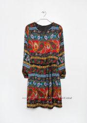 Эффектное платье  с этническими мотивами на подкладке Mango