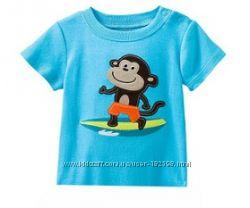 Голубая футболка с обезьянкой в наличии 18мес, 2Т, 4Т, 6Т