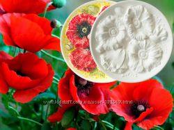Маки - настенная тарелка для росписи из керамики