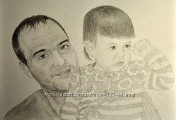 Портрет карандашом по фото. Отличный подарок родным и близким