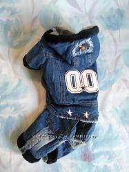 Джинсовый теплый комбинезон комбез костюм одежда для собак