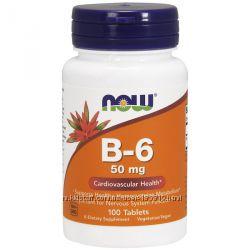 Now Foods, В6 пиридоксин, 50 мг, 100 табл. , в нал. Позняки