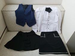 Школьная форма пакетом на рост 140-150 см, блуза, жилет, юбки, кардиган-5ве