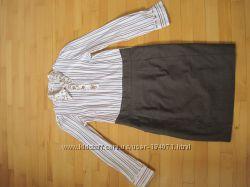 новое деловое платье шерсть в полоску