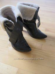 Италия 38 р. кожаные ботинки  цигейка