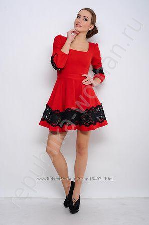 новое красное платье с кружевом 36-38 just wonan Турция с биркой