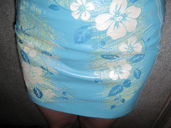 Новая кожаная юбка вышивка с бирками