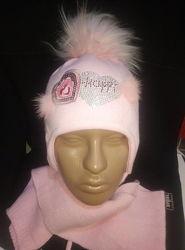 Теплые комплекты, шапки для девочек Ambra, Agbo Польша.