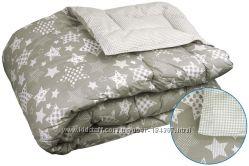 Одеяло демисезонное клеточка-полосочка-звездочка РУНО