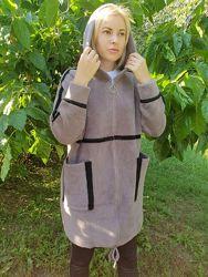 Пальто с капюшоном из шерсти альпака