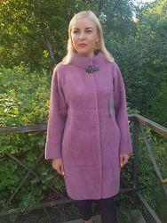 Женское осеннее пальто из шерсти альпака с воротником стойка